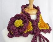 Crochet Neckwarmer Collar, Fall Colors, Bulky Yarn, Self Tie, Crocheted Flower, OAK