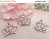 ON SALE 3 Piece Pink Tiara Crown Princess Rhinestone Flat Backs Crystal Tiara Bow Embellishment Bridal Wedding Cake Decorations