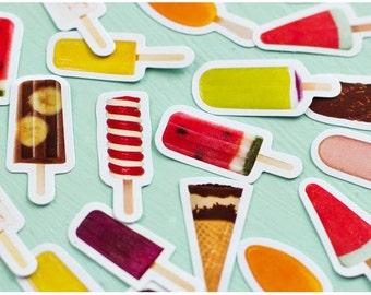 Paper Deco Label Seal Set - Popsicle - 45 Pcs