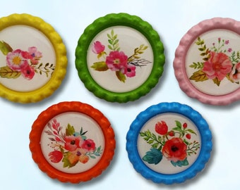 flowers, magnet, watercolor, spring, colorful, bottle caps