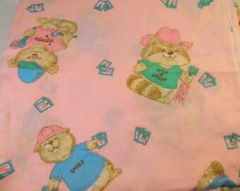 "Vintage SHIRT TALES HALLMARK Fabric - Cute Characters - 1980's - Shirttales - 88"" x 74"""