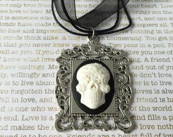 White Sugar Skull Cameo Necklace - White on Black 3D Sugar Skull Face On a Matching Black Organza Necklace