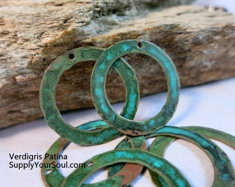 "1 1/4"" Hammered Copper Washers, Set of 6,  Patina Connectors, Handmade Findings"