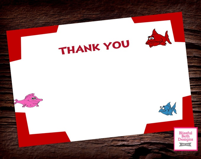 FISH THANK YOU Dr. Seuss Fish Printable Thank You Notes, Instant Download, Instant Dr. Seuss Fish Thank You Note, Fish Thank You