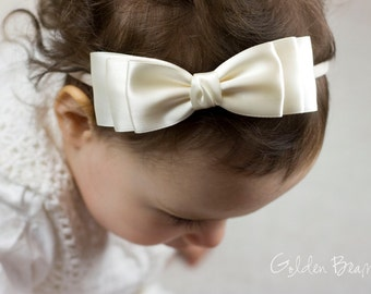 Baby Ivory Ella Bow Clip OR Headband - Flower Girl Headband  - Baby Satin Bow - Girls Satin Bow - Bun Hair Bow - Baby to Adult Headband