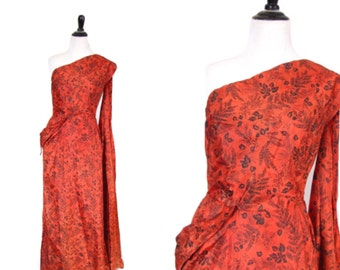 Vintage 1950's Dress l Hourglass Red Taffeta Floral Gown l  Size Small l Vintage Dress