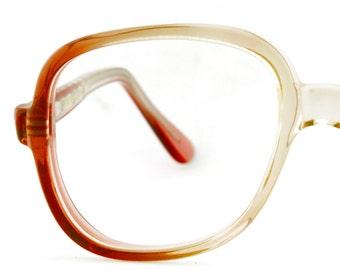 Vintage Women Gradient Browns Oversize Eyeglass Swan Opt Frames Eyewear