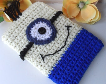Hand Crocheted Minion Kindle Nook Kobo E-reader Tablet iPad Sleeve Cover Holder