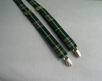 Cape Breton Tartan Suspenders, Cape Breton Tartan Braces,  Little Boy Green Plaid Braces, Mens Green Plaid Braces, Fiddle Concert Suspenders