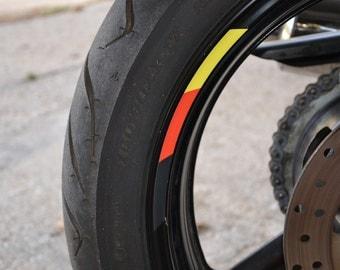 "8x Flag Sticker Stripes Germany Deutschland Stripe Motorcycle Rim For 17"" Wheel"