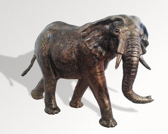 "Unique Elephant Sculpture, READY To Be Dispatched!  Handmade Bronze Effect Polymer Clay Art Work, 8"" Tall"