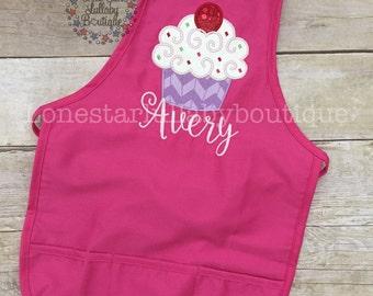 Cupcake Baking Party Birthday Apron or Shirt - boy apron, girl apron, custom apron