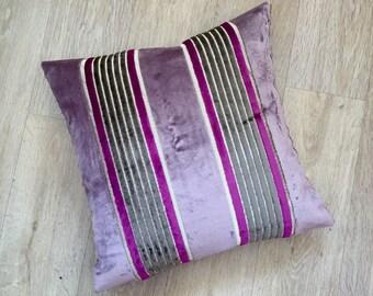 Wide block VIOLET PURPLE stripe with narrow magenta and Mocha stripes on a metallic linen background. SALON velvet by Osborne and Little