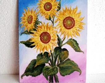 Sunflower Original Acrylic Painting . Wall Home Decor. Floral Artwork.