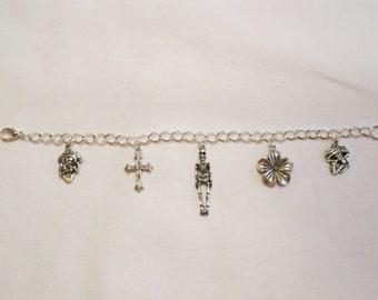"""Day of the Dead Sugar Skull Charm Bracelet 8"""" ~ Dia de los Muertos #02"""
