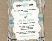 Tribal Baby shower Invitation, wood background aqua and black, Digital, Printable file