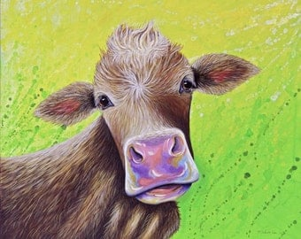 Print Jersey Cow // Colorful, acrylic,painting,art,artwork,wall hanging,nature,country,animals,art,cow,farm,kitchen decor,green,cute,nursery