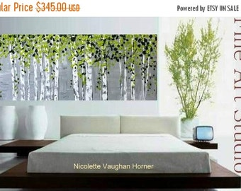 Sale XLarge Abstract painting,Original comtemporary Art,Silver Birches Ready to hang  by Nicolette Vaughan Horner