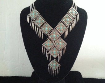 Now On Sale Vintage Bib Necklace 1960's 1970's Collectible Vintage Faux Turquoise Fringe Statement Jewelry