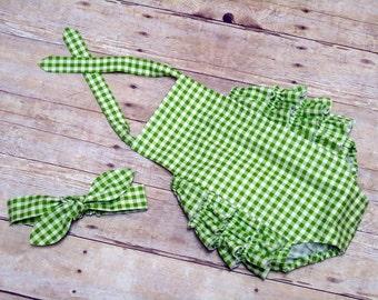 Baby Girl Ruffle Sunsuit Romper Infant Toddler Green Gingham Size 0 - 3 month, 3 - 6 month, 6 - 12 month, 12 - 18 month, 18 - 24 month