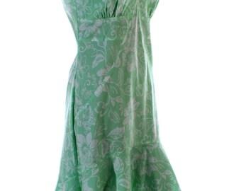 Vintage 90s Cream Green Floral Fishtail Spanish Senorita Dress UK 10 US 8