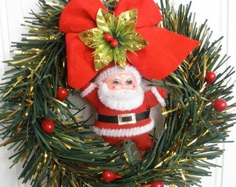 Retro Mini Santa Claus Wreath Petite Vintage Christmas Holiday Decor Flocked Kris Kringle Kitsch Holiday Xmas Decoration Ho Ho Ho