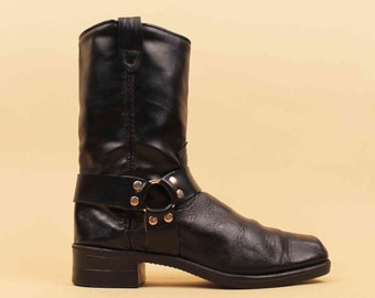 80s Vtg Black Genuine Soft Leather ENGINEER Biker HARNESS Tall Boots / DURANGO O Ring Stud Grunge Punk Metal / 6 6.5 Eu 36 37