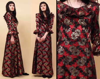 60s Vtg Dramatic LUREX Metallic Lace Ruffle Collar Maxi Dress / Hippie MOD Hostess Cocktail Gown / Red Black Gold Xs Sm Petite