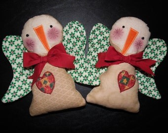 Primitive Whimsical Country Christmas SNOW ANGELS Dolls Tucks Bowl Fillers Ornies