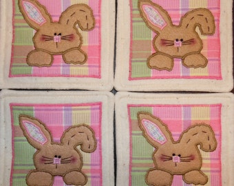 Primitive Whimsical Country Spring EASTER BUNNY Rabbit Faces Coasters Mug Mats Scatter Mats Hot Pads Trivets