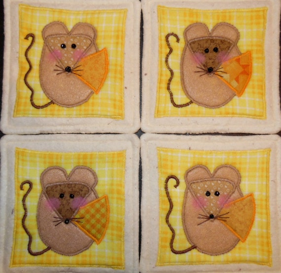 Primitive Whimsical Country Folk MOUSE MICE CHEESE Coasters Mug Mats Scatter Mats Hot Pads Trivets