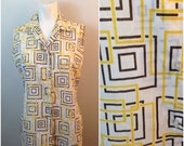 Vintage 1960s White Geometric Novelty Print Button Up Sleeveless Cotton Blend Blouse Shirt / Women's Medium / Yellow and Brown Top
