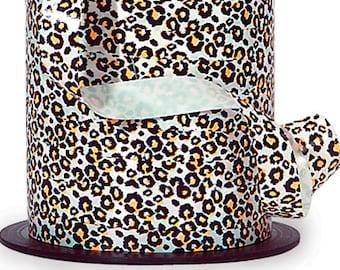 "20YDS Leopard Spots Animal Print White Yellow & Black CURLING Ribbon 3/8"""