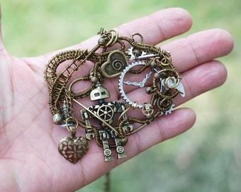 Steampunk Robot Necklace I Love Robot Wire Wrap Watch Gear Part Heart Charm