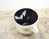 White Feather, Black and Silver Porcelain Tea Cup & Saucer or Mug-Hostess Gift, Wedding Gift