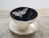 Death's Head Moth Black and Silver Tea Cup & Saucer or Mug-Bug Art, Goth Gift, Steampunk Gift