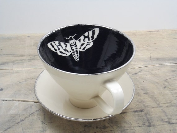 Death's Head Moth Black, White and Silver Large Tea Cup & Saucer