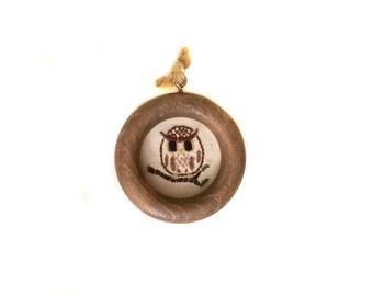 Vintage Tiny Owl Needle Point Round Frame