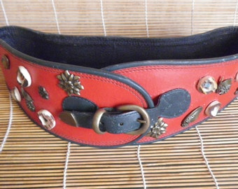 "Vintage Wide Red And Green Decorated Tyrollean Leather Belt Fits from 32"" to 33"" waist"