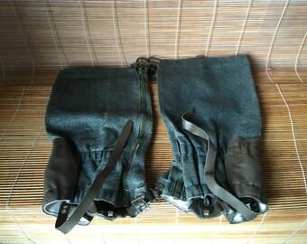 Vintage Green Army Waterproof Overshoes Gaiters Textile Zip Up