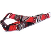 Geometric Red Gray Dog Step in Harness