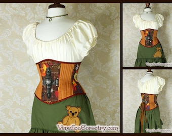 "Firefly Serenity Patchwork Waspie Corset - Corset Size 20, Fits Waist 23""-25"" - Ready to Ship"