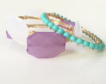 Turquoise Bead Wire Wrapped Gold Bangle Bracelet