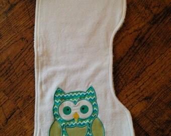 "Green Owl Appliqued Burp Cloth 8 1/2"" x 17 1/2""."