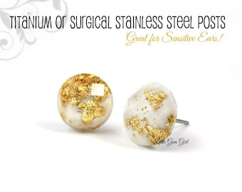 10mm White Gold Studs - White Glitter Stud Earrings Gold Foiled Faceted Titanium or Stainless Studs - Small White Crystal Earrings