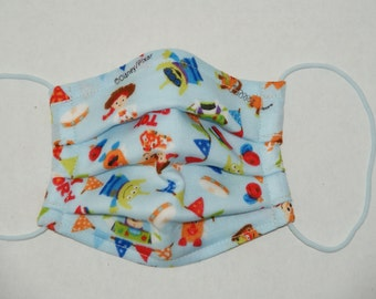 """Premade Child Size Double Gauze Washable Mask Made with """"Toy Story"""" with Tio Tio Antibacterial Gauze in Pleated Style"""
