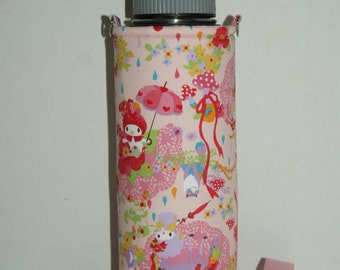 "Insulated Water Bottle Holder for 40oz Hydro Flask with Interchangeble Handle and Strap Made with ""My Melody - Umbrella"" Pink Fabric"