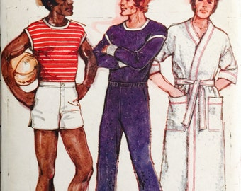 Butterick 4709 Men's T-Shirt, Sweatpants, Shorts and Robe Pattern, Vintage, Size 38, Rober L. Green Design, Casual Wear, Athletic Wear