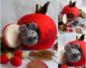 felted wool ornament, christmas,felted apple, mouse, handmade, wool, felt, fairy, Waldorf inspired, MADE TO ORDER