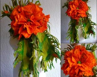 felted scarf with flower  brooch, merino wool, handmade, felt, wrap, green, orange